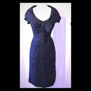 Gorgeous vintage 50s black lace party wiggle dress